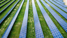 A row of solar panels in a field
